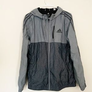 Adidas Gray Windbreaker Hooded Jacket